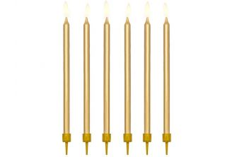 """12 Gold Birthday Candles 5"""" (PA011)"""