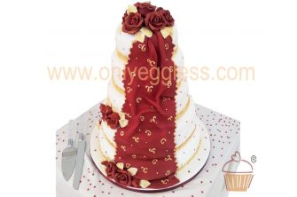 5 Tier Stacked Red & Gold Tower Wedding Cake (C573)