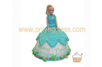 Barbie Doll Blue Gown Cake (C323)