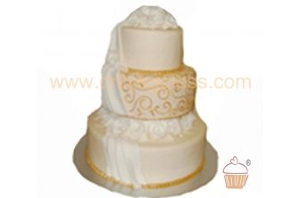3 Tier Stacked Gold Wedding Cake (C527)