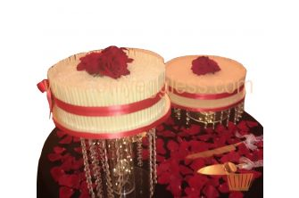 2 Cigarillo Red Roses White Stand Wedding Cake (C536)