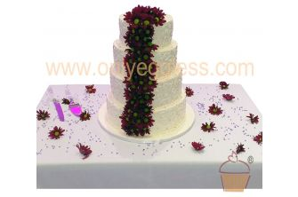 4 Tier Stacked Piped Swirl with Beads Wedding Cake (C544)