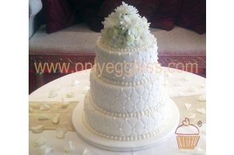 Elegant Quilted and Beaded White Flowers Wedding Cake (C545)