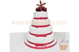 4 Tier Red Roses & Ribbon Iced Wedding Cake (C549)