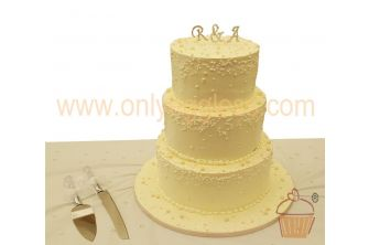 3 Tier Stacked Classic Ivory and Beads Wedding Cake (C571)