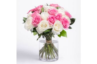 Pink and White Roses Bouquet - (Silk) - (G1057)