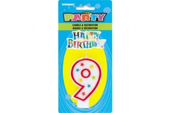 Shape Number Happy Birthday Decor Glitter Candle (P185)
