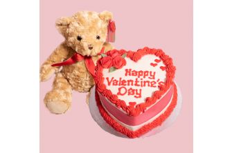 Valentines Package1- Vanilla Valentine Cake with One Jack Bear (VAL16-Package1)