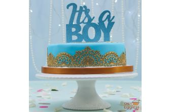 Laced Up Blue and Gold Cake (A2591)