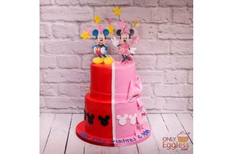 Red Mickey and Pink Minnie Cake