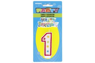 Happy Birthday Decor Glitter Candle - Shape Number 1 (P177)