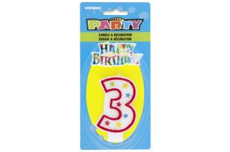 Happy Birthday Decor Glitter Candle - Shape Number 3 (P179)
