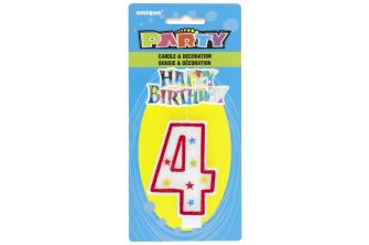 Happy Birthday Decor Glitter Candle - Shape Number 4 (P180)