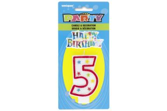 Happy Birthday Decor Glitter Candle - Shape Number 5 (P181)