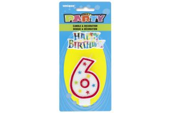 Happy Birthday Decor Glitter Candle - Shape Number 6 (P182)