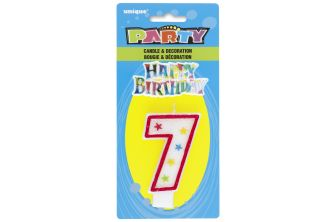 Happy Birthday Decor Glitter Candle - Shape Number 7 (P183)