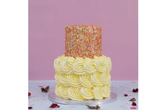 Two Tiered Sprinkles & Yellow Swirls Cake (A2581)