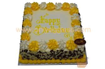 Yellow Themed Mixed Curls Cake (C486)