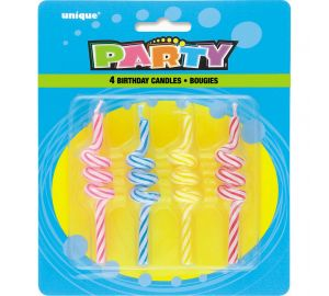 4 x Striped Coil Candles (P124)