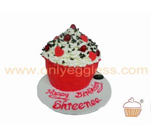 Giant Cupcake Red Hearts and Cherries (C1198)