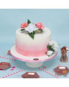 Floral Coral Fade Cake (A2712)