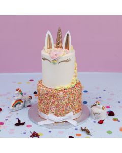 Two Tiered Unicorn & Sprinkles Cake (A2575)